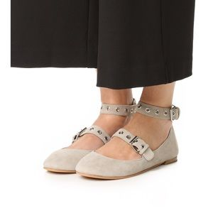NEW Rebecca Minkoff buckle suede leather flats Sz7